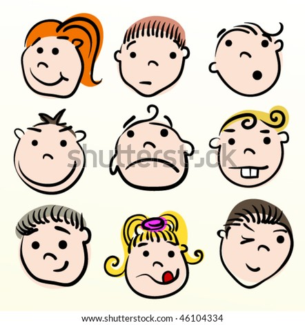 Child cartoon vector design. Doodle face.