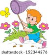 child catches the butterfly a net - stock vector