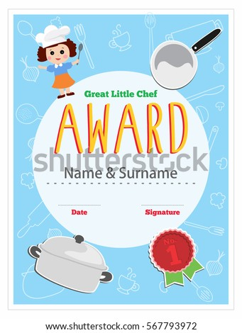 Child chef award cooking class kids stock vector 567793972 child chef award cooking class for kids certificate design layout template vector illustration yelopaper