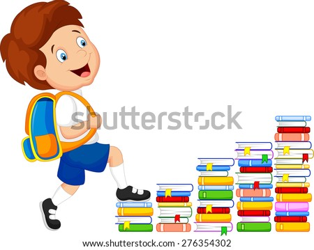 Child climbing stairs - stock vector