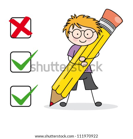 child completing a questionnaire - stock vector