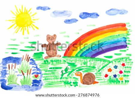 Child drawing colored with watercolor on paper, the sun, flowers, rainbow, bear. - stock vector