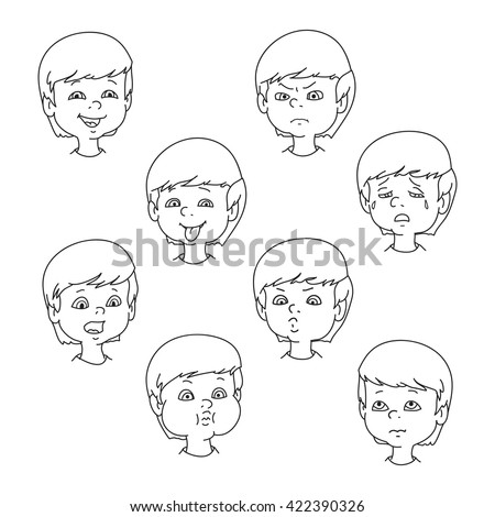 Child face emotion gestures, black and white vector illustration, set collection. Boy smiling, laughing, angry, crying, showing tongue, whistles, thoughtful