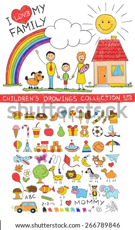 Child hand drawing illustration of happy family with kids near home, dog, sun, rainbow. Cartoon sketch image of children pencil painting vector doodles set: sweets, lollipop, food, baby toys, animals. - stock vector