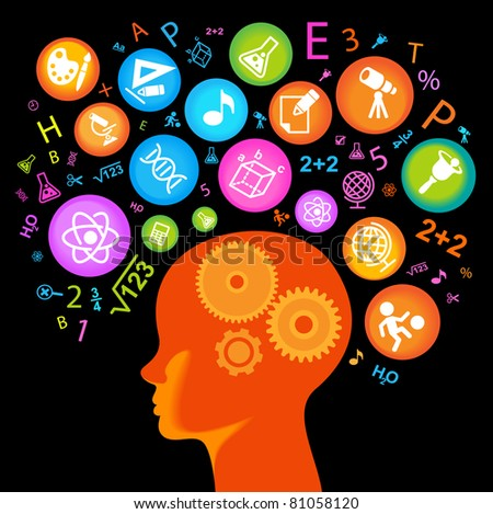 child Head.Children Learn to think - stock vector