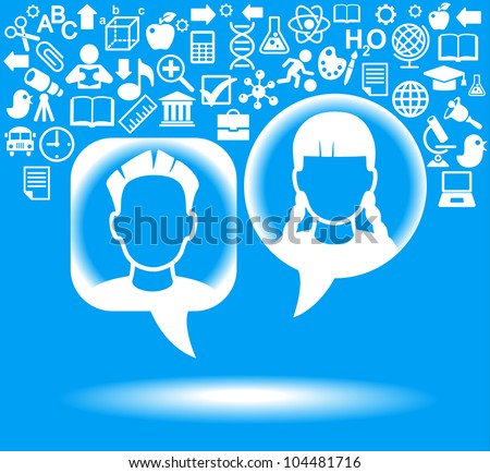 child heads with symbols. the concept of education - stock vector
