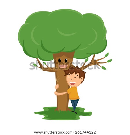 Child hugging tree, vector illustration, isolated white background - stock vector