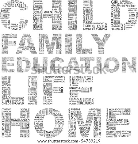 CHILD. Illustration with different terms in white background. Wordcloud illustration. - stock vector