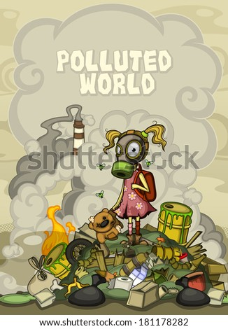 Child in a gas mask standing on a pile of garbage.  At the top of the cloud of smoke space for text  - stock vector