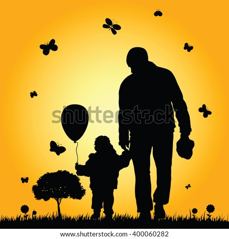 child in nature illustration with father in colorful - stock vector