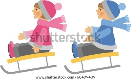 Child in the sled - stock vector