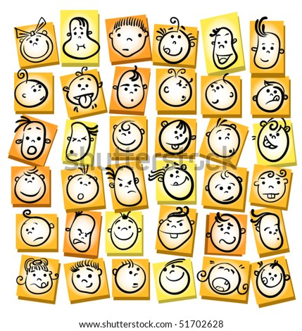 child kid face icons - stock vector