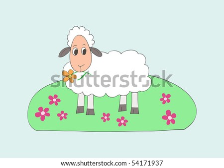 Child like drawing of little sweet sheep, eating flower, vector - stock vector