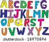 Child like drawn alphabet vector - stock vector