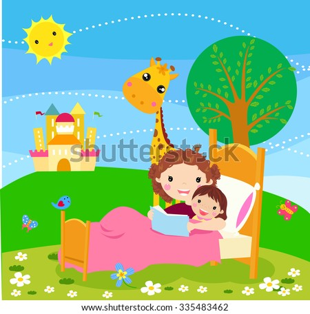 Child listening his mother read a storytelling book - stock vector