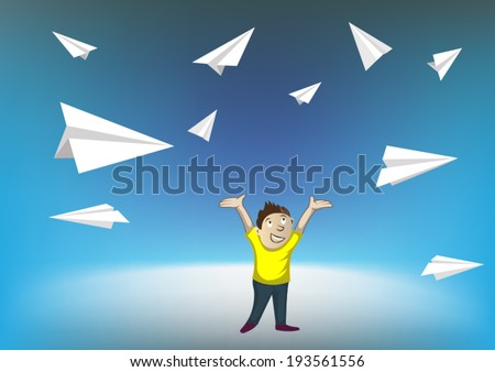 child looking to the paper plane - stock vector