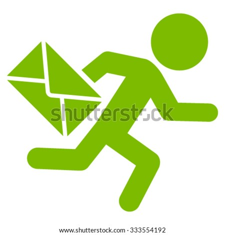 Child Mail Courier vector icon. Style is flat symbol, eco green color, rounded angles, white background. - stock vector