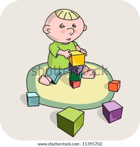 child / motor development /  blocks - stock vector