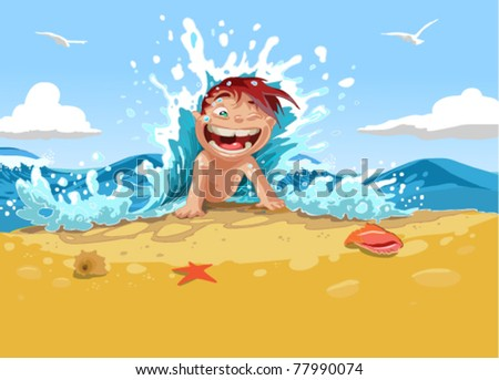 child on a beach - stock vector