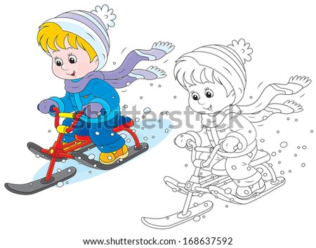 Child on a snow scooter - stock vector