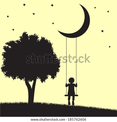 Child on swings hanging from moon and tree silhouettes - stock vector