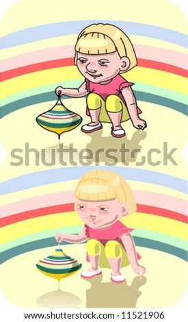 child / play / humming-top - stock vector