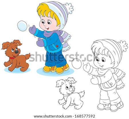 Child plays with a pup - stock vector
