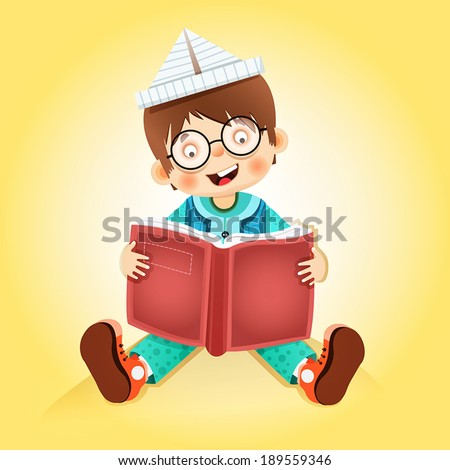 child reading book - stock vector