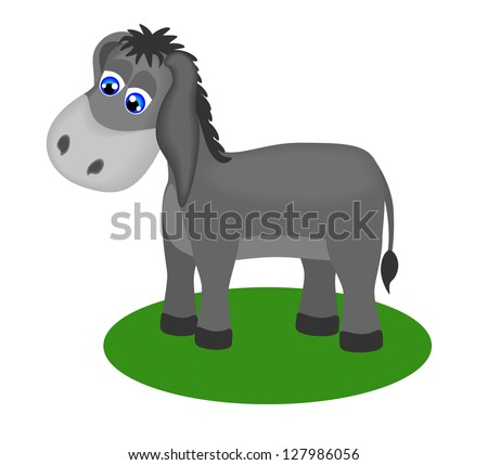Child's drawing of a sad donkey, vector illustration - stock vector