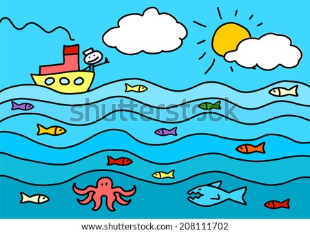 Child's drawing of a sea - stock vector