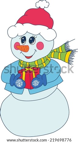 child's drawing of a snowman. vector