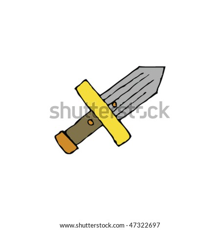 child's drawing of a sword - stock vector
