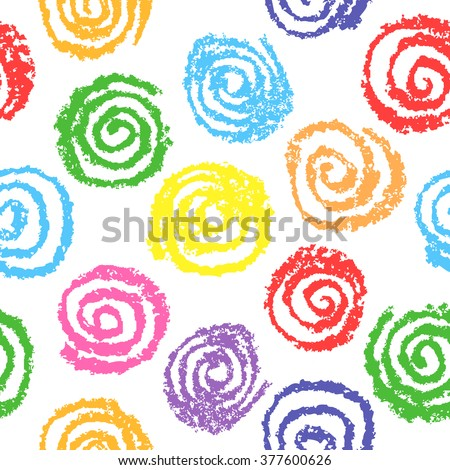 Child's drawing of multicolor circles. Wax crayon kids hand drawn illustration. Seamless pattern, vector background.