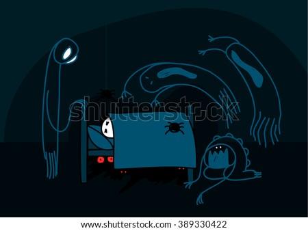 Child's drawing of nightmare creatures - stock vector