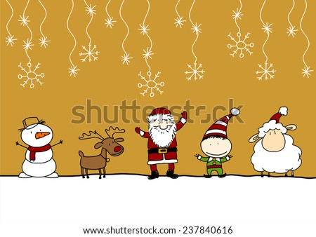 Child's drawing of Santa Claus, cute reindeer, little sheep the symbol of the year 2015, snowman and elf under a snowfall - stock vector