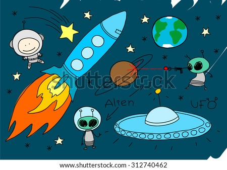 Child's drawing of space - stock vector