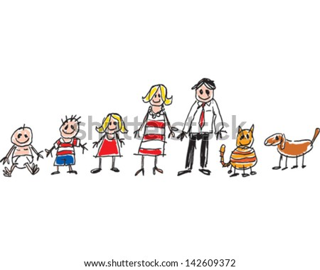 Child's Family Drawing - stock vector