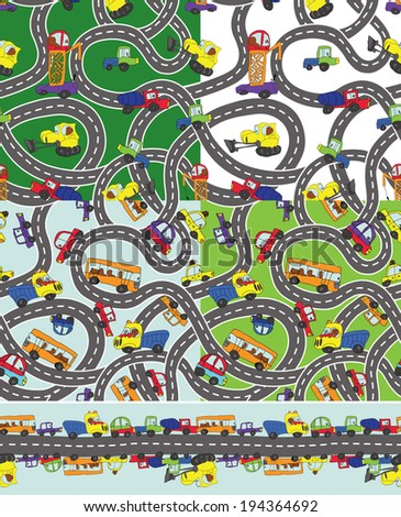 Child's hand draw car element.Funny colored cartoon Doodle in seamless pattern set and border.Various machines with highway road  in vector illustration.For wallpaper,packaging,fabrics,background. - stock vector
