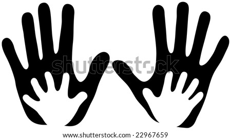 Child's Hands in Adult Hands - stock vector