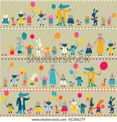 child's merry background with animals - stock vector