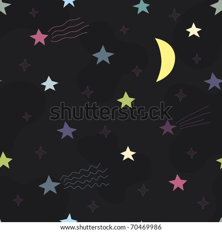 child's seamless pattern with stars - stock vector