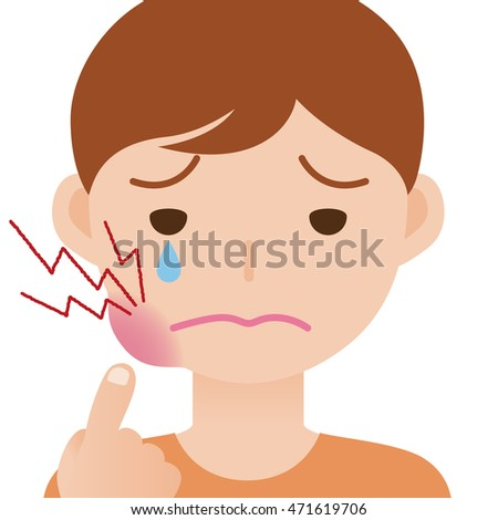child's toothache, hurts of bad tooth, stomatitis, mouth ulcer, periodontal disease, vector illustration