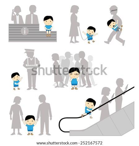 Child Safety Missing Negligence Set - stock vector