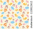 Child seamless pattern with cute animals. - stock vector
