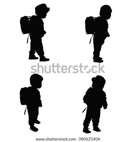 child set black illustration silhouette on white - stock vector