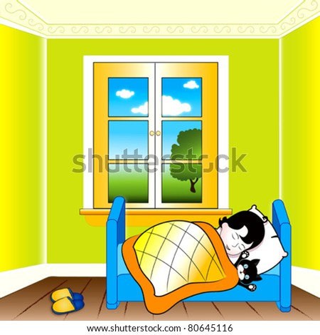 Child sleeping - stock vector