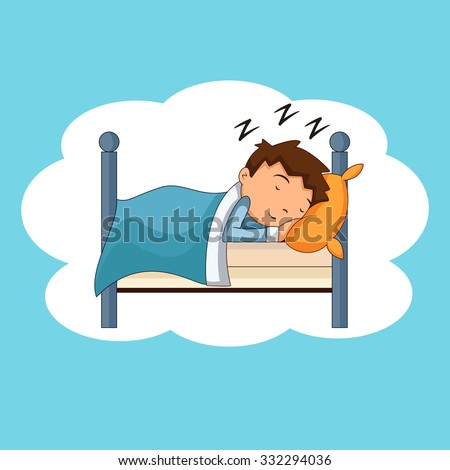 Child sleeping, bedtime, vector illustration  - stock vector