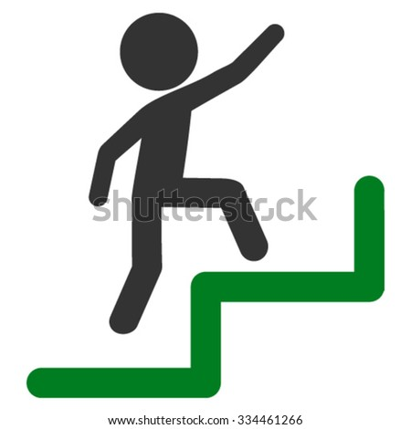 Child Steps Upstairs vector icon. Style is bicolor flat symbol, green and gray colors, rounded angles, white background. - stock vector