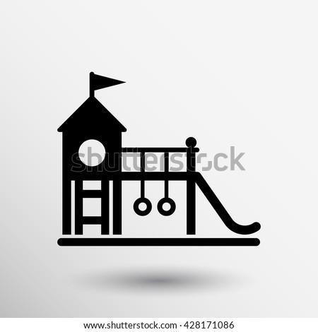 child teeter vector Icon playground symbol sing. - stock vector