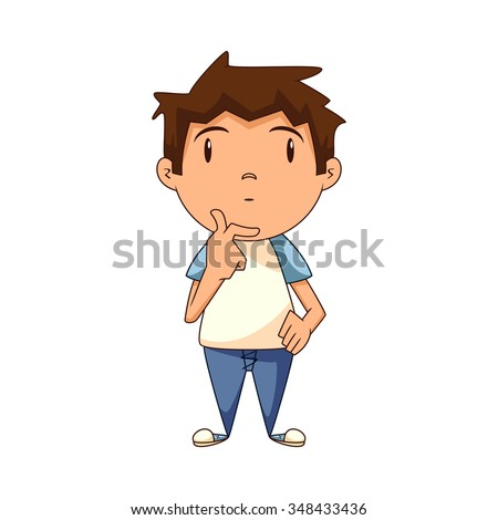 Child thinking, looking up - stock vector